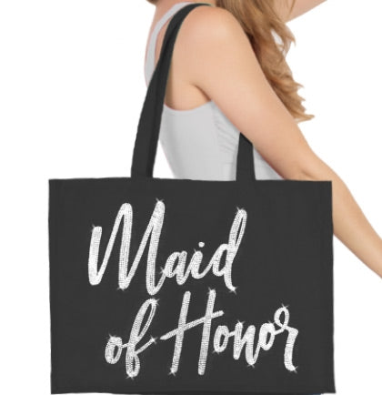 Maid of Honor Glam Rhinestone Large Canvas Tote