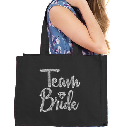 Team Bride Diamond Rhinestone Large Canvas Tote