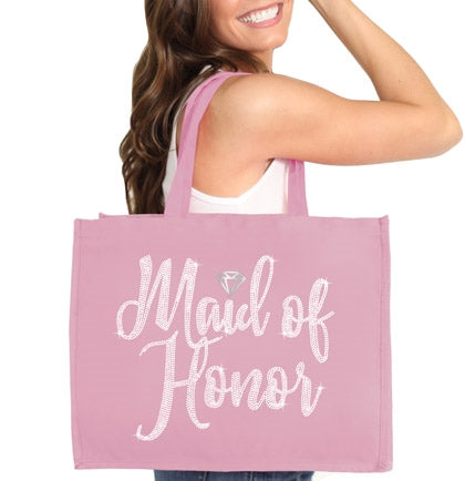 Maid of Honor Diamond Rhinestone Large Canvas Tote