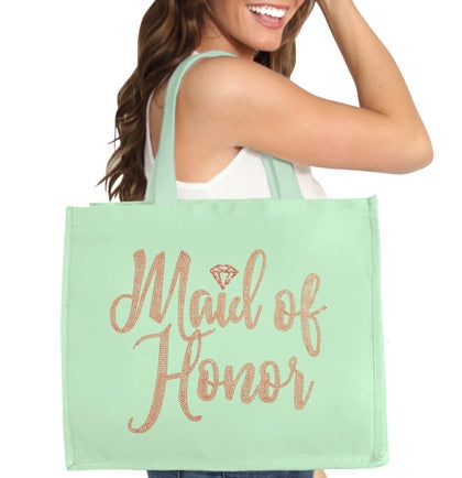Maid of Honor Diamond Rose Gold Rhinestud Large Canvas Tote