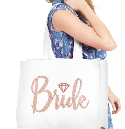 Bride Diamond Rose Gold Rhinestud Large Canvas Tote