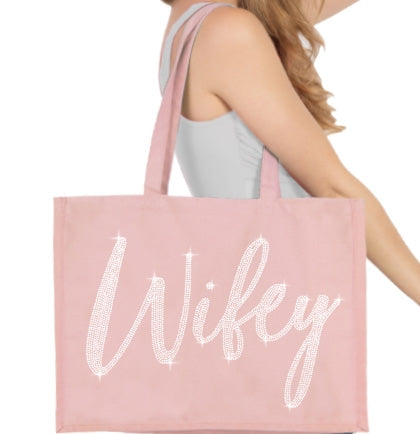 Rhinestone Wifey Large Canvas Tote