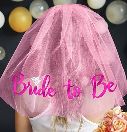 Pink Bride to Be Diamond Veil - Electric Pink