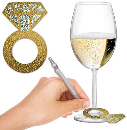 These fun gold and silver iridescent drink markers are a great addition to your bachelorette party or girls' night! The set of 24 paper markers are in the shape of a wedding ring.