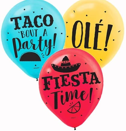 "These 12"" latex balloons say Ole, Taco 'Bout A Party and Fiesta Time! This set a fun décor and are an easy and inexpensive way to decorate!"