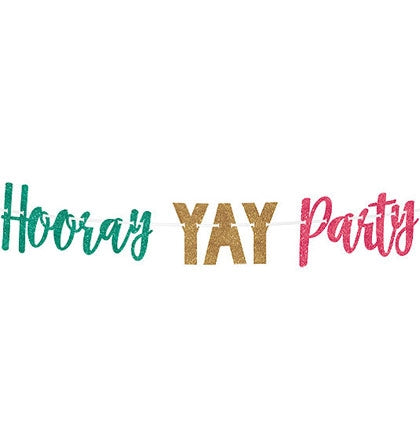 This 12ft long glitter letter banner says HOORAY YAY PARTY and is a fun decoration for any Bachelorette Party or any occasion!