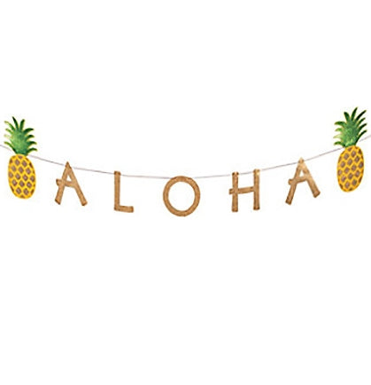 The 7ft long banner will transform a space in a fun and inexpensive way. The banner is stringed up on a piece of twine and says ALOHA accented with two pineapples.