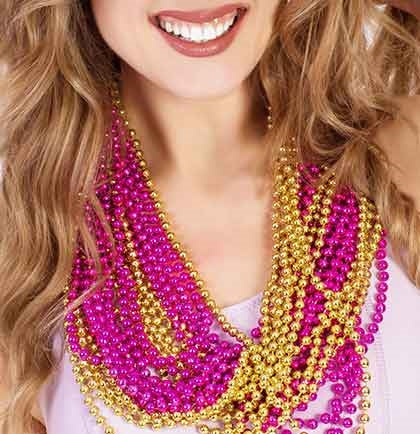 24pc Hot Pink & Gold Metallic Beads