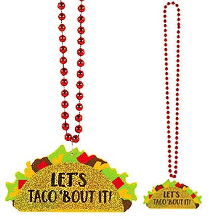 "These super cute LET'S TACO 'BOUT IT necklaces are a must have! The 36"" long red beaded necklace has a gold glitter taco medallion."