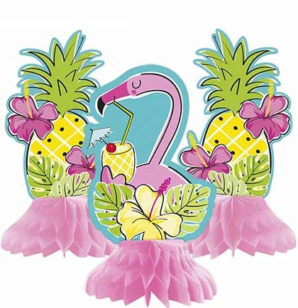 3pc Flamingo Pineapple Mini Honeycomb Centerpieces