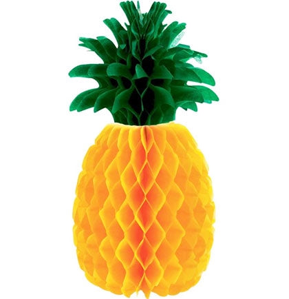 "This 11.5"" tall yellow and green tissue paper Pineapple Honeycomb Centerpiece is the perfect centerpiece for a Tropical Themed bachelorette party!"