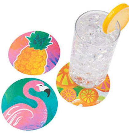 "The set of twelve 4"" coasters come with flamingos, pineapples and tropical fruit printed on them. Stack these tropical-themed coasters by the tiki bar or leaving them sitting out for guests to use at the party."