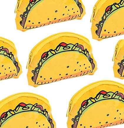 "These 2.5"" tall plastic taco coin purses close securely with a zipper. A fun and inexpensive party favor that is great for a Final Fiesta Bachelorette Party."