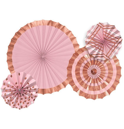 Set of 4 Pink & Rose Gold Hanging Fans