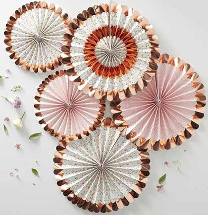 These gorgeous floral and rose gold hanging fans will create the right amount of drama! The set of five paper fans come in two different sizes to hang from the ceiling, doorway or create a backdrop on a wall to take party pictures.