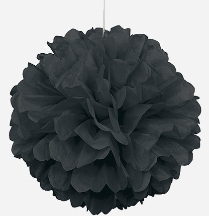 "Giant 16"" Black Fluffy Pouf"