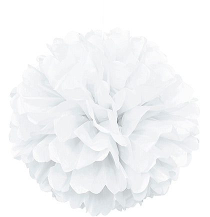 "Giant 16"" White Fluffy Pouf"