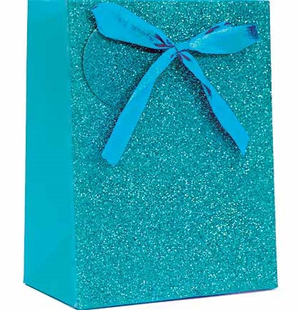 "This fun 9"" Turquoise Blue Glitter Gift Bag features a real satin bow and a matching gift tag!"