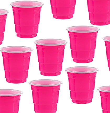 Get these sporty shot glasses for all of the attendees--makes a great toast or photo op! This set of twenty plastic pink shot glasses holds 2 oz.