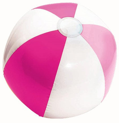 "This 13"" pink and white plastic beach ball can be used for a pool or beach game, decoration, or even a great souvenir for the bride with the party signing it!"