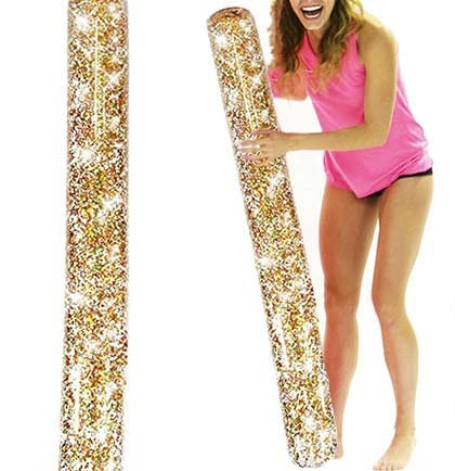 "This fun gold glitter confetti 60"" x 3"" vinyl pool noodle is the perfect party favor to get the party!"