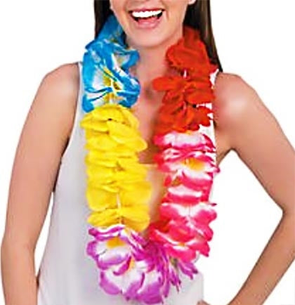 "Need ideas for a luau party or Hawaiian themed party? This multi-colored fabric Jumbo Lei is 38"" long. I"
