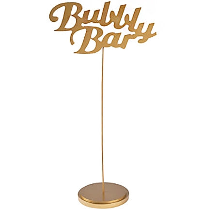 "Make a fun statement with this gold Bubbly Bar Table Sign. The wooden sign is 8""x15"" and has a 4"" base. It's perfect letting your guests know where the drink table or bar is at."