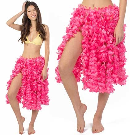 "The hot pink floral hula skirt is 28"" long and pair it with a fun bathing suit or tank top."