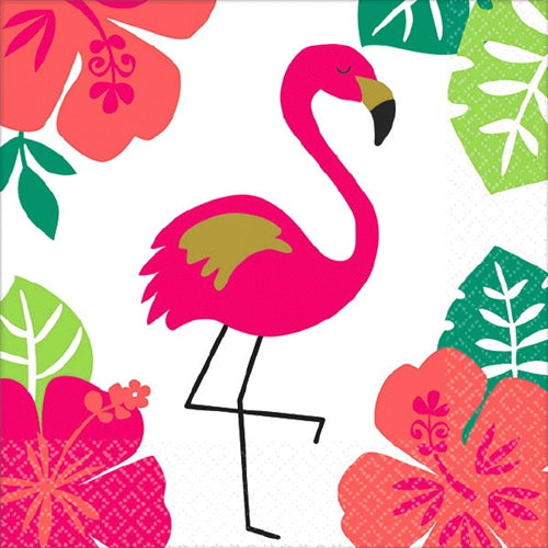 These fabulous Flamingo Aloha cocktail napkins are perfect for the bachelorette party, adding a pop of color to your snack table!