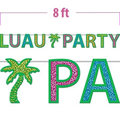 "This colorful 8ft banner is the perfect decoration for your tropical, poolside, or beach Bachelorette Party! The banner has sparkly letters saying ""LUAU PARTY"" accented with a palm tree in the middle."