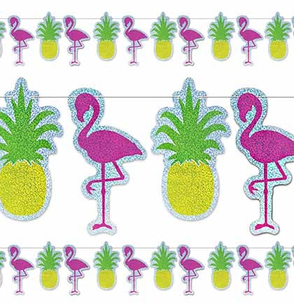 This 12ft banner is the perfect tropical, poolside, or beach bachelorette party decoration! The sparkly flamingos and pineapples add a tropical flair to any occasion.