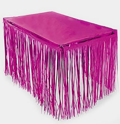 "This metallic foil fringe table skirt will add some pizazz to your party! The skirt is large enough to fit most tables around the edge at 9ft long and 29"" wide, but does not cover the table top (Shown with a table cover in pink, not included)."