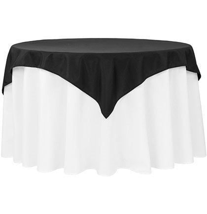 "This Matte Black Table Topper will add some drama to the party table! This 54"" x 54"" polyester square table topper will work on round or square tables."