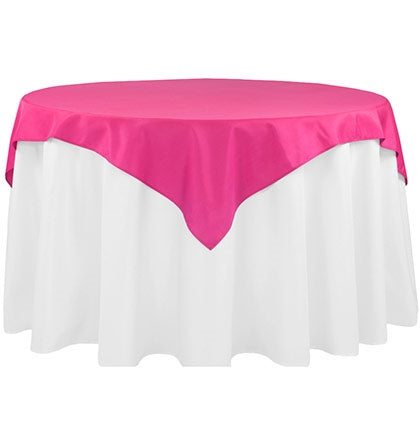 "This Hot Pink  54"" x 54"" square table topper will work on round or square tables. To add more drama to the table put a contrasting colored table cover underneath."