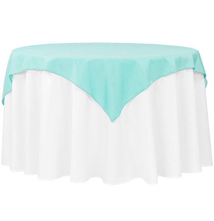 "Add a fun pop of color to the bachelorette party or bridal shower with this 54""x54"" Matte Light Turquoise Table Topper."