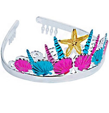 This tiara can be worn by the bride or all the bachelorettes at the party. The plastic tiara is silver, hot pink, turquoise and gold accented with seashells and a starfish. It has two combs on the sides to secure the tiara while you're partying!