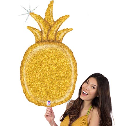 "This large 35"" Gold Glitter Pineapple Mylar Balloon will stand out at a Tropical Bachelorette Party. Not only does it make a great decoration it will be fun to pose with it in pictures."