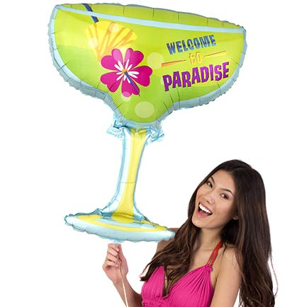 "Get this fun 28""x23""  Welcome To Paradise margarita shaped glass shaped mylar balloon for a tropical bachelorette party!"