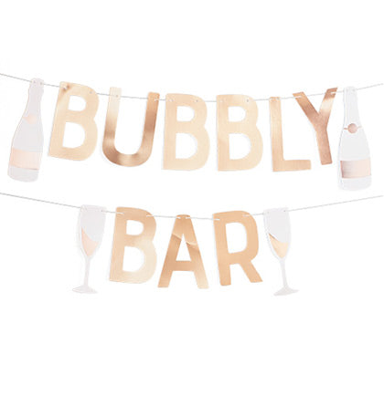 Let everyone know it's going to be a party! This banner says BUBBLY BAR and is accented with two champagne bottles and glasses! Place it on a wall behind a party table or place it in front of a table to indicate where you're bar is located.