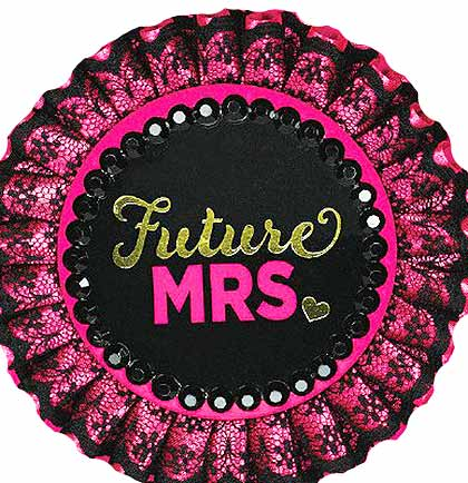 "This bold 4"" deluxe Future Mrs. Button is a great party favor for the bride. Accented with hot pink satin and black lace it's perfect to wear to a Lingerie Shower or Bachelorette Party."