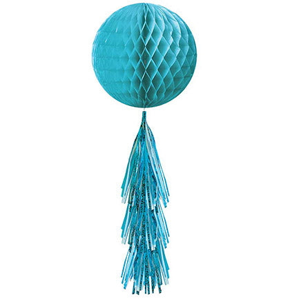 "This Turquoise Honeycomb dangler will be a great decoration to add color at bachelorette party. The hanging dangler has a turquoise honeycomb ball with various turquoise colored fringe tail at the bottom. This versatile 28"" long hanging decoration can be hung from the ceiling or light fixture."