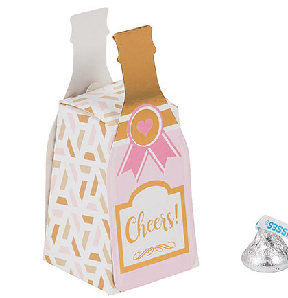 Pink Champagne Bottle Mini Favor Box