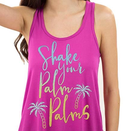 Ombre Bride to Be or Shake Your Palm Palms Flowy Racerback Tank