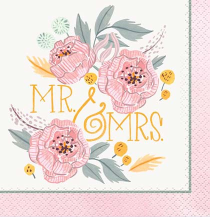 Mr. & Mrs. Floral Napkin