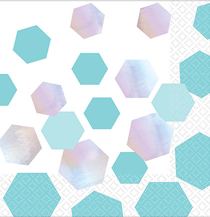 Looking for ideas on tableware to have at a bachelorette party or bridal shower? These cocktail sized napkins have turquoise and silver iridescent hexagon shapes for a fun look. Pair them with our other hexagon tableware to complete your party look.