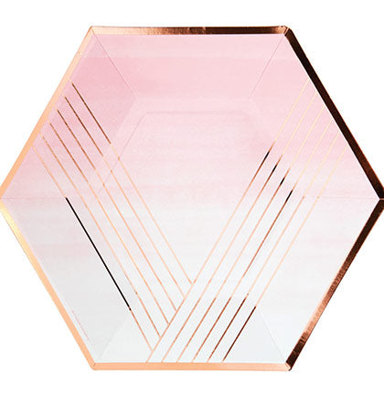 Rose Gold Stripped Dinner Plates