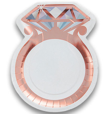 "These pretty rose gold diamond ring shaped plates are perfect for a Bachelorette Party or Bridal Shower. This unique 11"" size plate is perfect for dinner or multiple desserts."