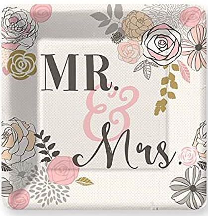 "These 7"" square dinner have a floral pattern and say Mr. & Mrs. in the center. These sweet plates are perfect for a bridal shower or a more family friendly bachelorette party. Make sure to get enough for all attendees."