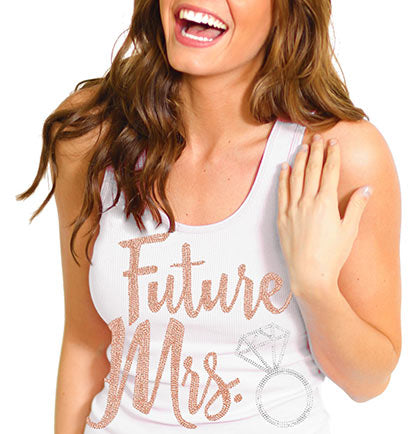 Future Mrs. Rose Gold Rhinestud Tank Top