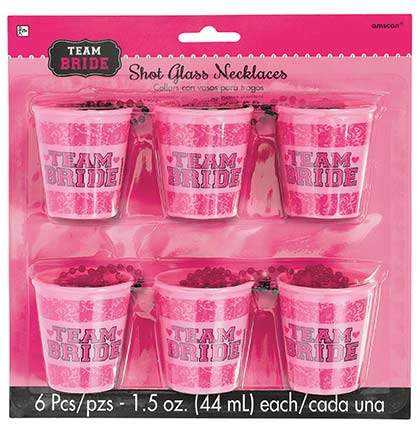 These plastic shot Team Bride glasses are a fun party favor for a Bachelorette Party. The shot glass holds 1.5oz of liquid and has a black beaded necklace so you can wear it all night. Perfect to wear out bar hopping or on a pub crawl for the bachelorette party.